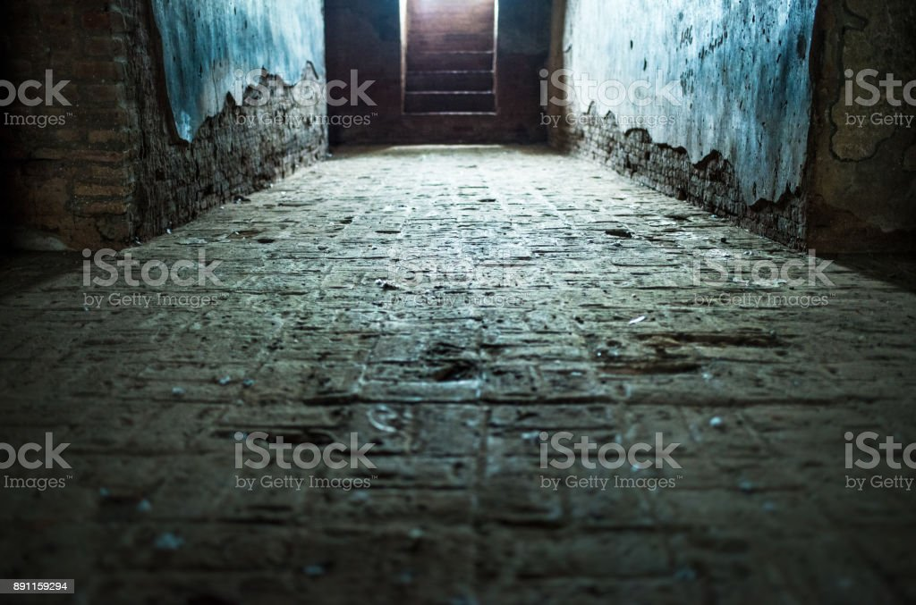 Path to enlightenment or journey to heaven concept - corridor or hall inside an old temple stock photo