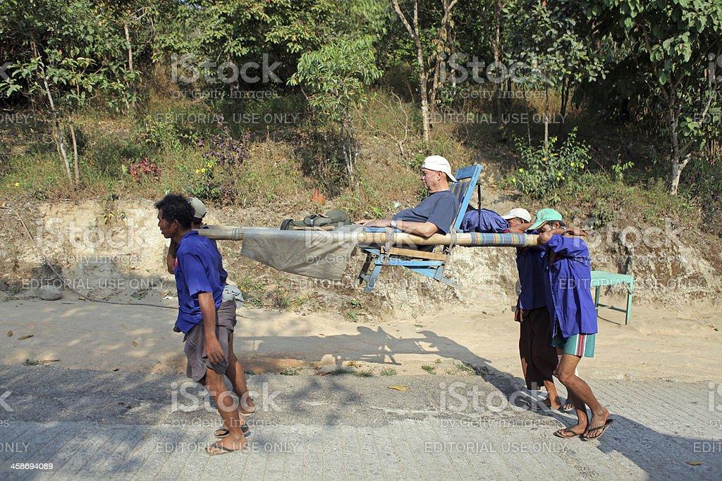 Path to Kyaiktiyo pagoda, Myanmar stock photo
