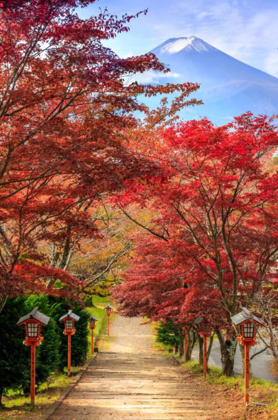 Weg zum Mt. Fuji im Herbst, Arakura sich Schrein, Fujiyoshida, Japan – Foto