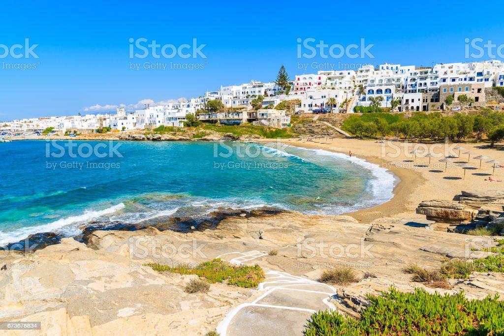 Path to Piperi beach in Naoussa village, Paros island, Cyclades, Greece stock photo