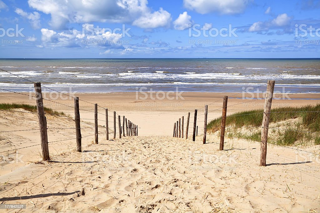 path to sandy beach by North sea royalty-free stock photo