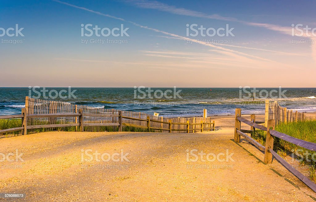 Path to the Atlantic Ocean in Atlantic City, New Jersey. stock photo