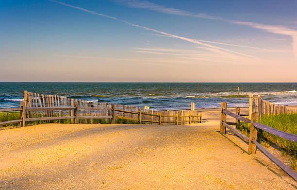 Path to the Atlantic Ocean in Atlantic City, New Jersey. stock photo