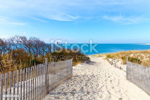 Sandy path to the beach at Cape Henlopen in Lewes, Delaware along the Atlantic Ocean.