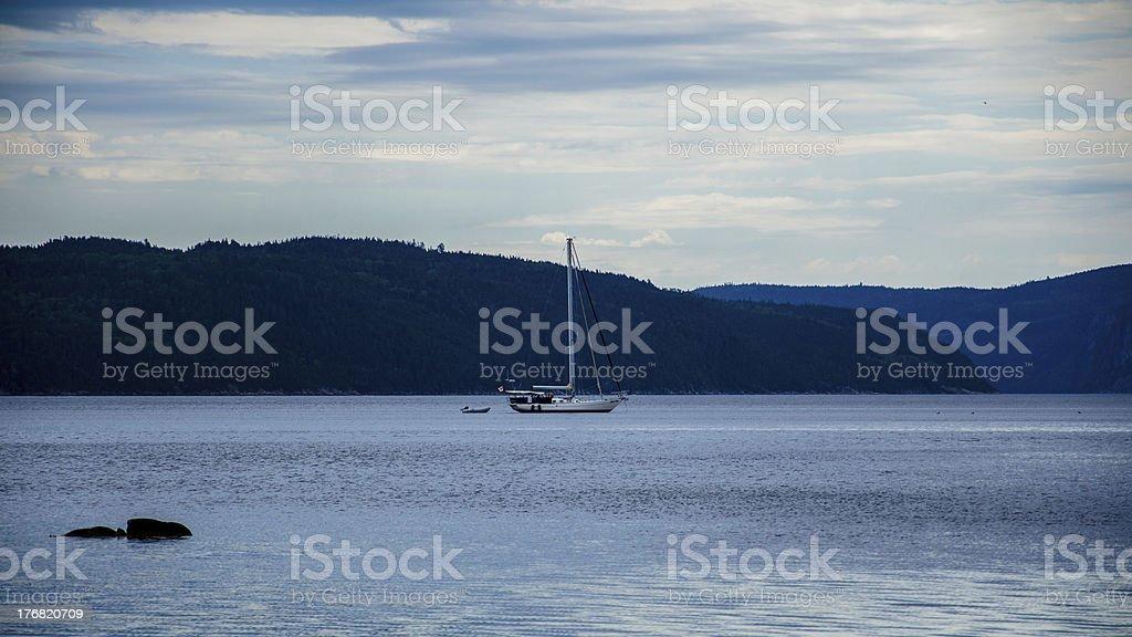 Path to the beach, Boat, Sailboat, Sand Dune, Lake, Sunrise royalty-free stock photo