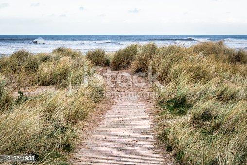 Wooden path that leads to Castlerock beach in Norhten Ireland