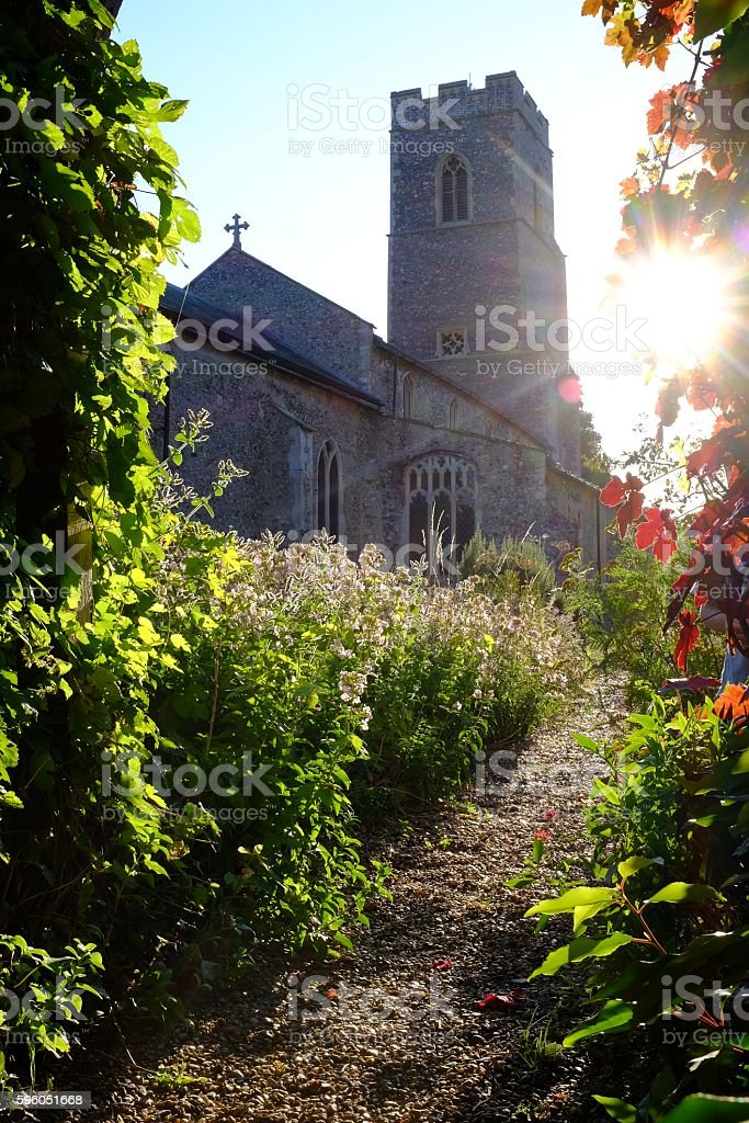 Path to the church and sunshine royalty-free stock photo