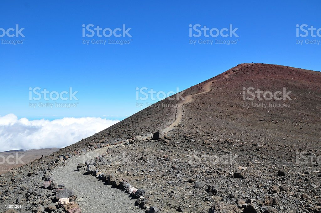 Path to the summit of Mauna Kea stock photo