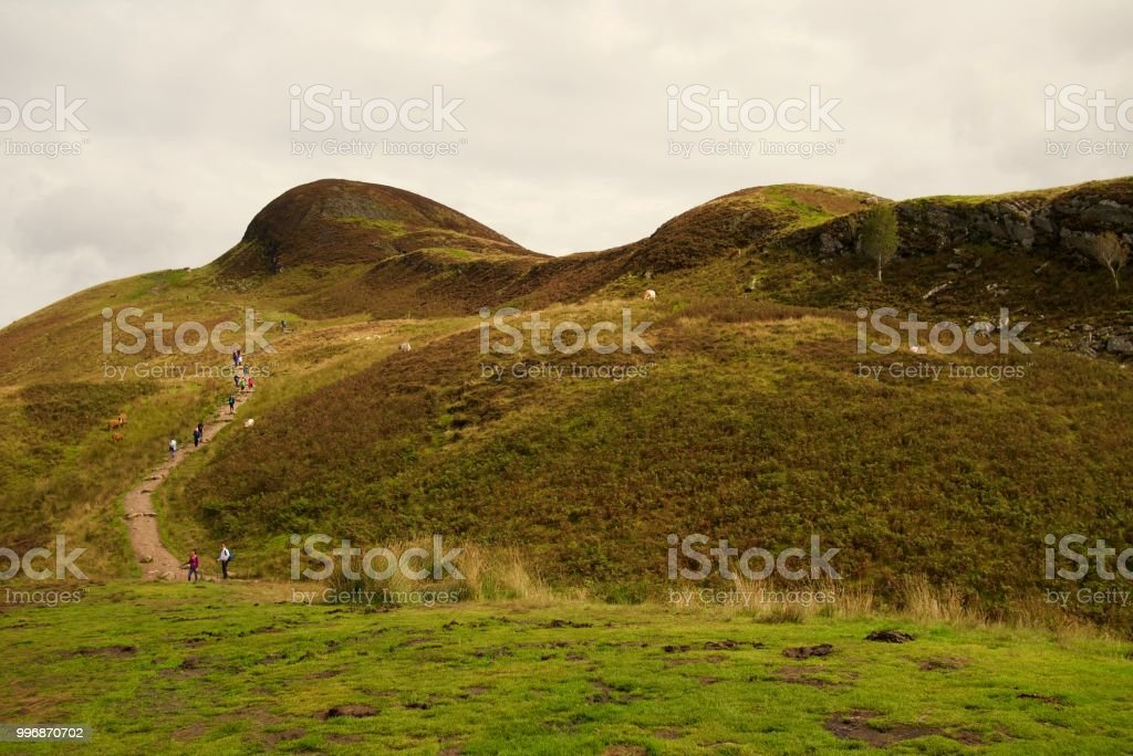 Path up Conic Hill, Scotland stock photo