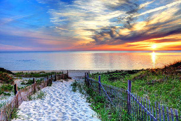 Path with beach fence on Cape Cod Path with beach fence leading to a secluded beach at sunset near Provincetown on Cape Cod. Cape Cod has some of the worlds most beautiful beaches. Cape Cod is famous, worldwide, as a coastal vacation destination with some of New England's premier beach destinations cape cod stock pictures, royalty-free photos & images