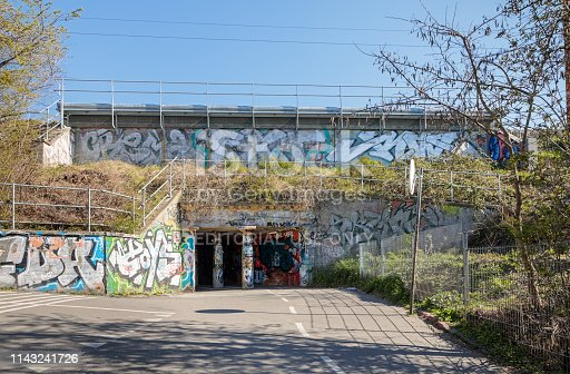Valby, Copenhagen, Denmark - April 15, 2019: Paths for bikes and pedestrians cover the most of Copenhagen. This is crossing under a railroad track.