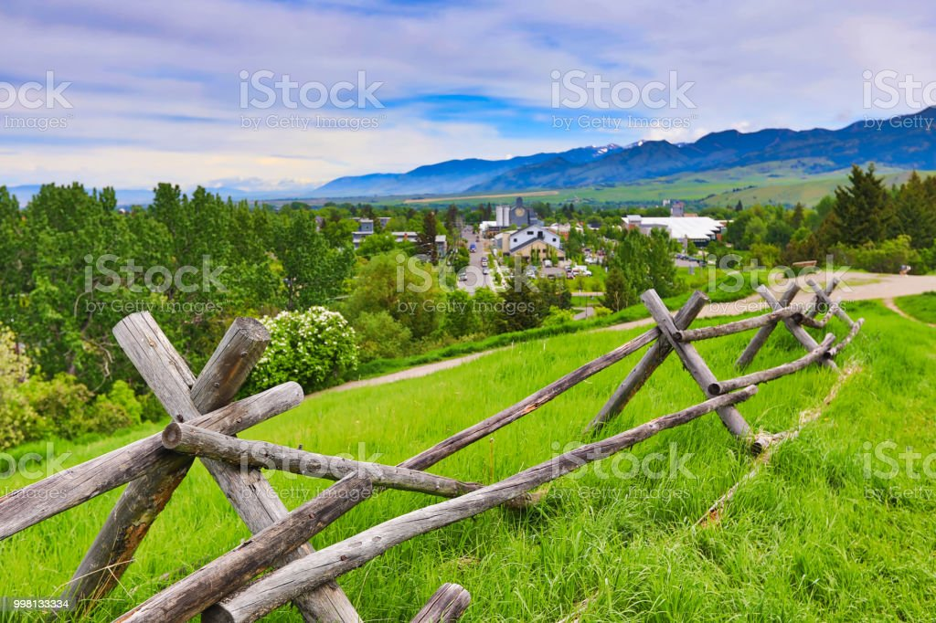 Paths in the hills above Bozeman, Montana provide a spectacular view. stock photo
