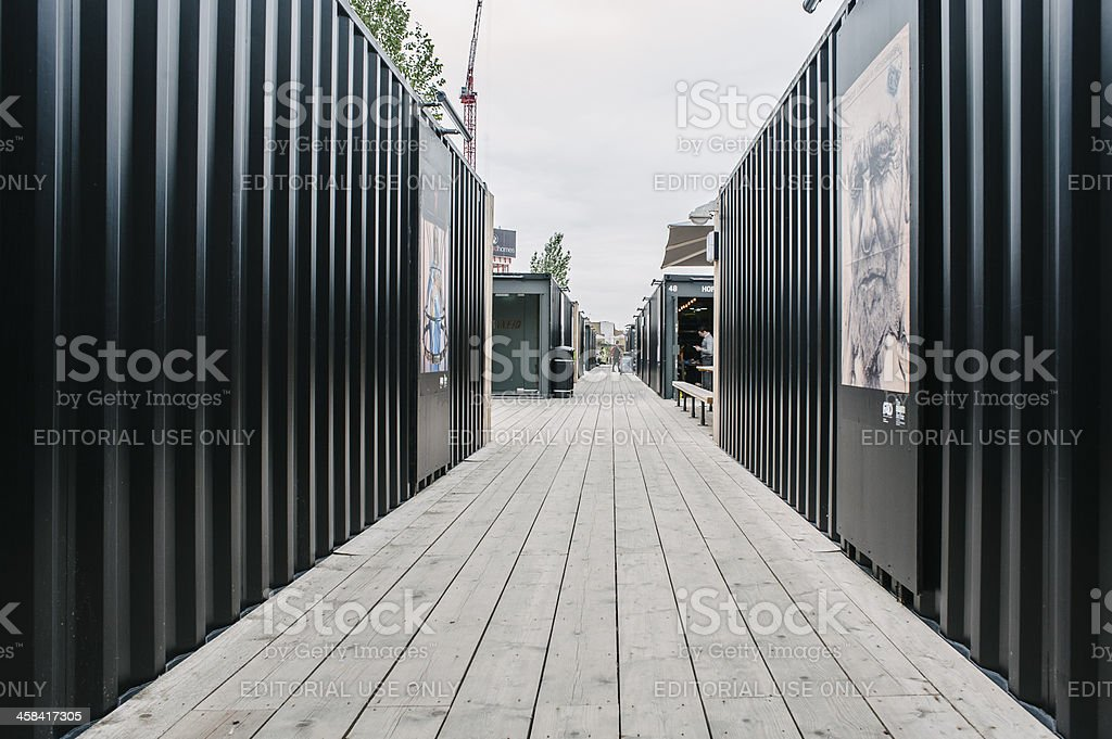 Pathway in Boxpark, London stock photo