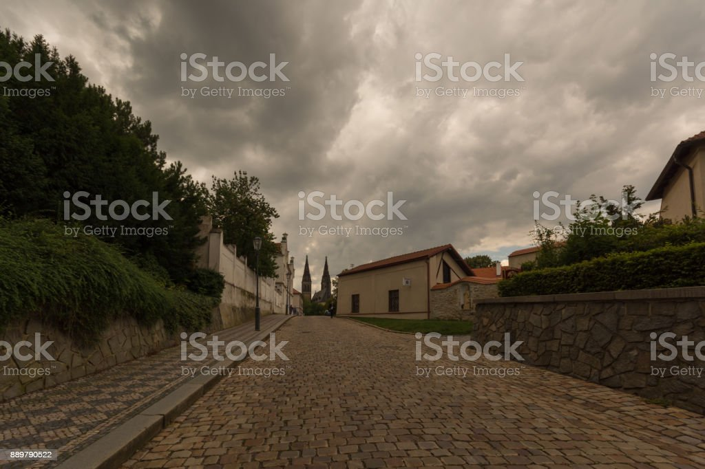 Pathway in the park of Vysehrad on top of fort, Prague, Czech republic 2017 July stock photo