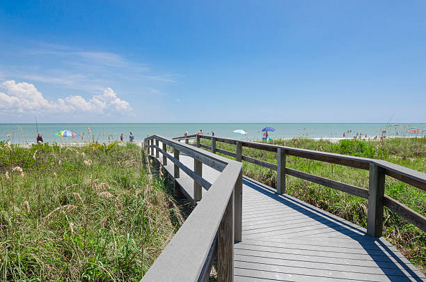 Pathway leading to beach overlooking Gulf Sea stock photo