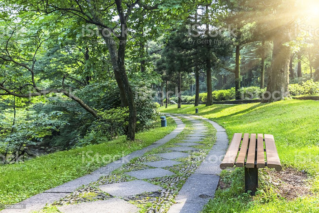 Pathway through country garden royalty-free stock photo