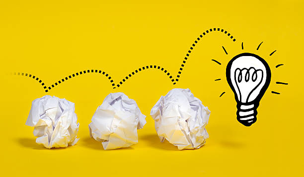 Pathway to a Bright Idea - Lightbulb stock photo