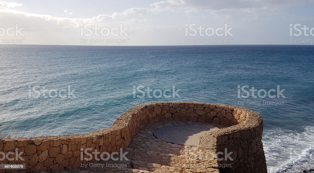 A pathway to an ocean stock photo