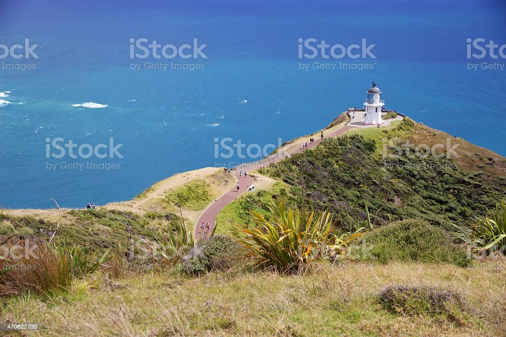 Pathway to lighthouse at Cape Reinga, Northland, New Zealand stock photo