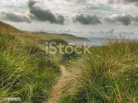 Grassy hill leading down to the coast showing a story sky with clouds.
