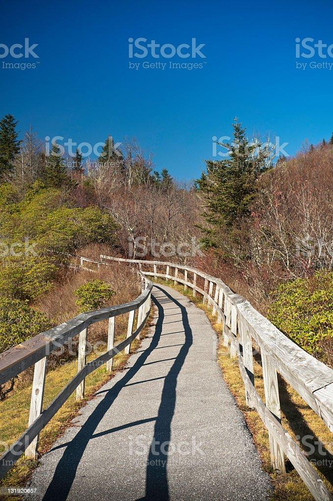 Pathway up the mountain, Blue Ridge Parkway, North Carolina, USA royalty-free stock photo