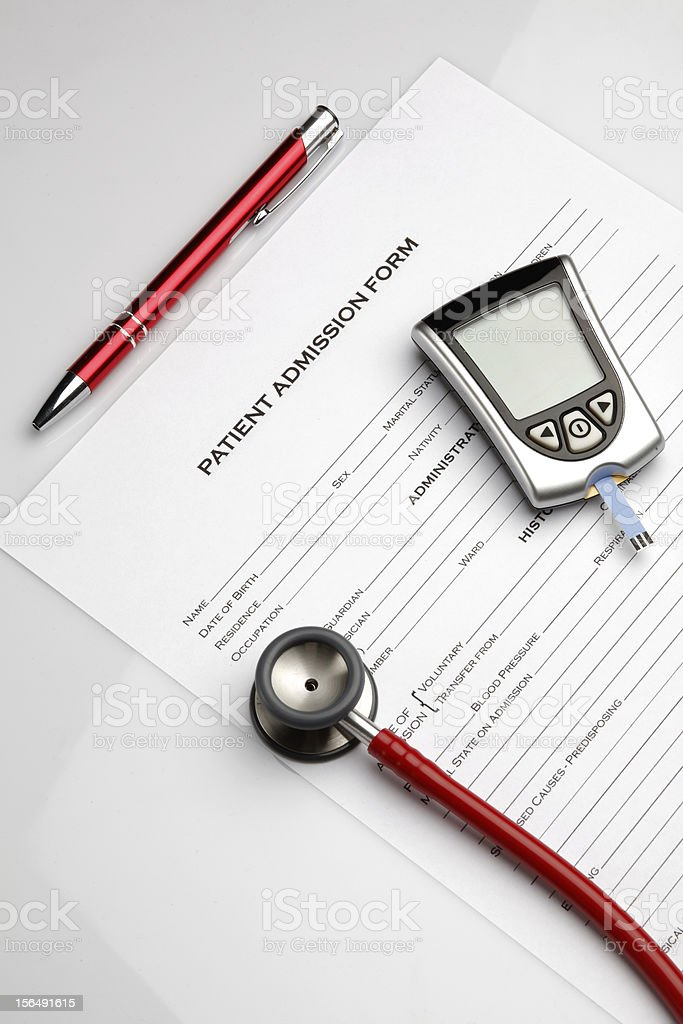 Patient Admission Form royalty-free stock photo
