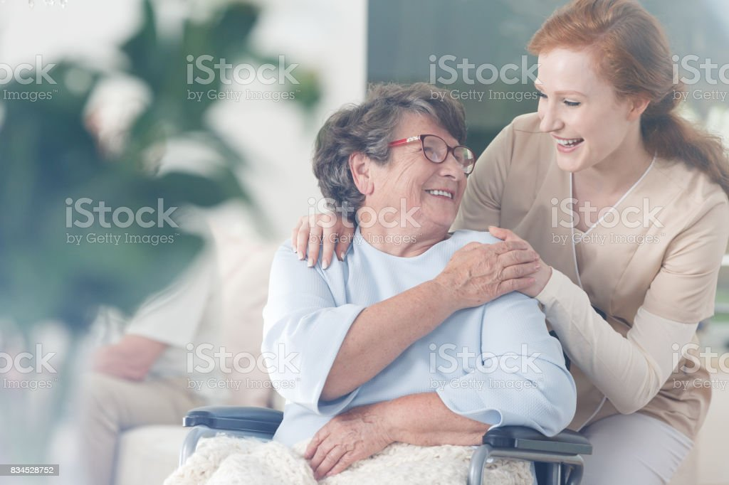 Patient and caregiver spend time together royalty-free stock photo