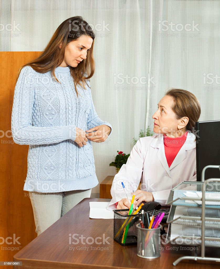 patient at a reception at the  doctor stock photo