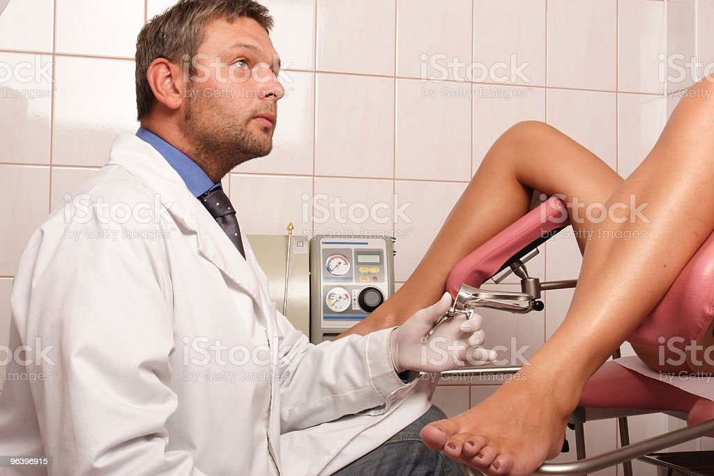 patient at gynecologist examination stock photo