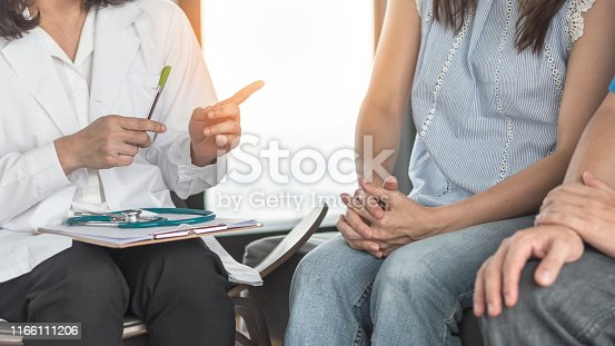istock Patient couple consulting with doctor or psychologist on marriage counseling, family medical healthcare therapy, In vitro fertility IVF treatment for infertility, or psychotherapy session concept 1166111206