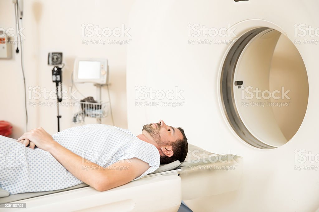 Patient getting CAT scan in a hospital stock photo