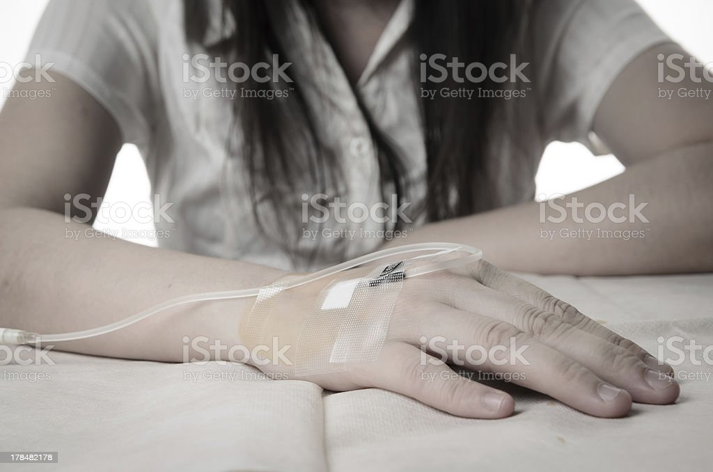 patient have IV drip stock photo