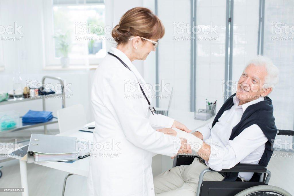 Patient is grateful for help stock photo