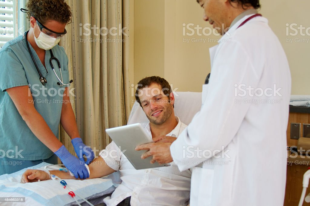 Patient is pleased with test results stock photo