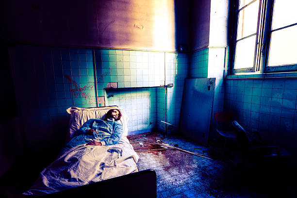 patient looking for hope - psychiatric ward stock photos and pictures