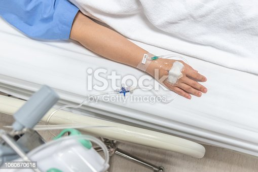 910488902istockphoto Patient on hospital bed in medical in-patient ward resting with iv fluid intravenous drop or saline drip through hand injection for nursing care or healthcare recovery treatment from illness concept 1060670618