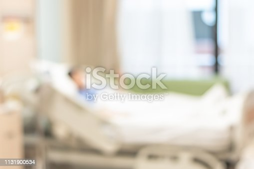 1127202747istockphoto Patient on hospital bed, medical blur interior background white room ward with nursing care or healthcare recovery treatment 1131900534