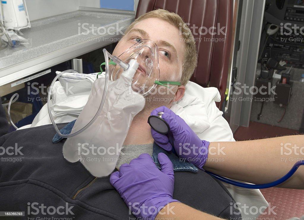patient on oxygen assist stock photo