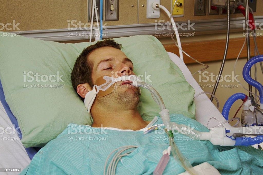 Patient on respirator stock photo