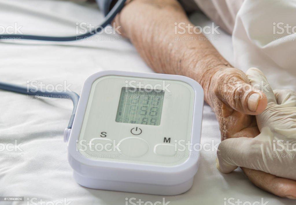 Patient pressure measurement stock photo