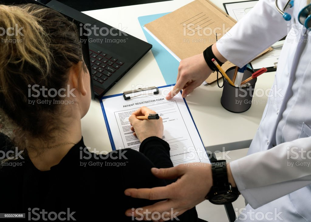Doctor, Patient, Hospital, Pointing, Form Filling