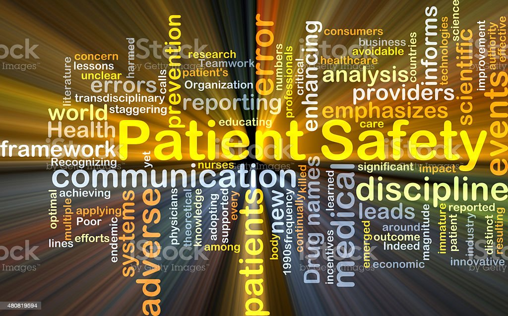 Patient safety background concept glowing stock photo