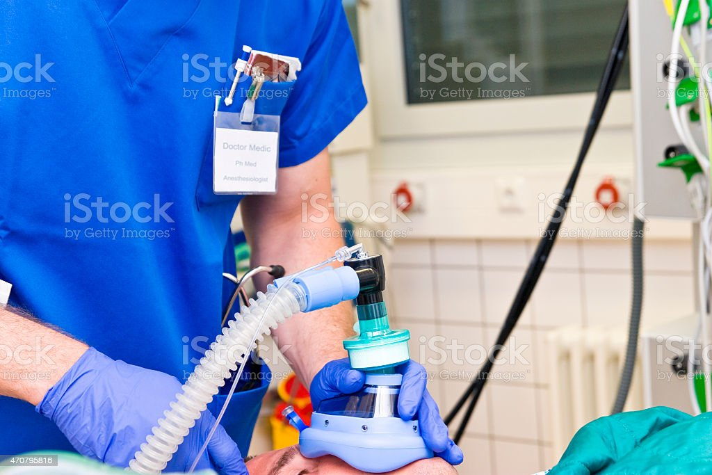 Patient ventilation during anesthesia stock photo