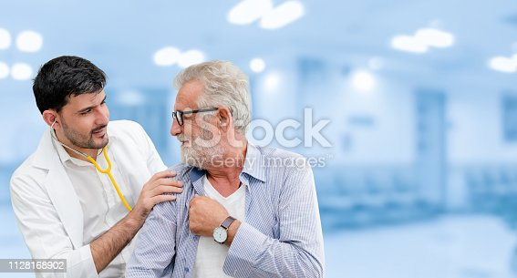 1064843136istockphoto Patient visits doctor at the hospital. Concept of medical healthcare and doctor staff service. 1128168902