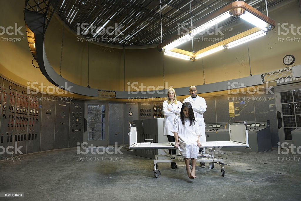 patient with doctors in control room royalty-free stock photo