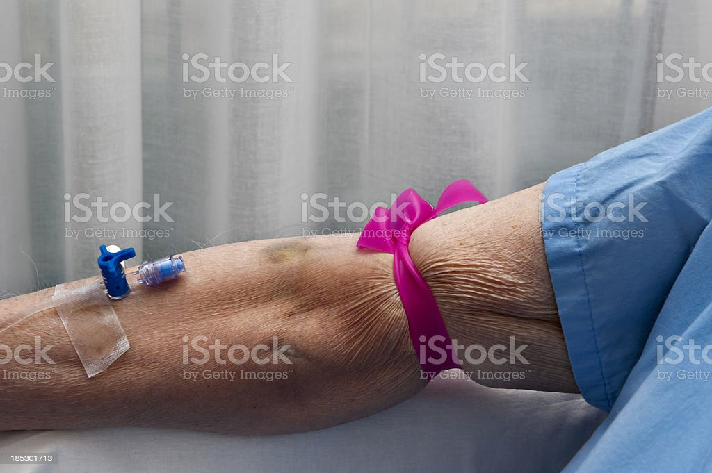 Patient with drip royalty-free stock photo