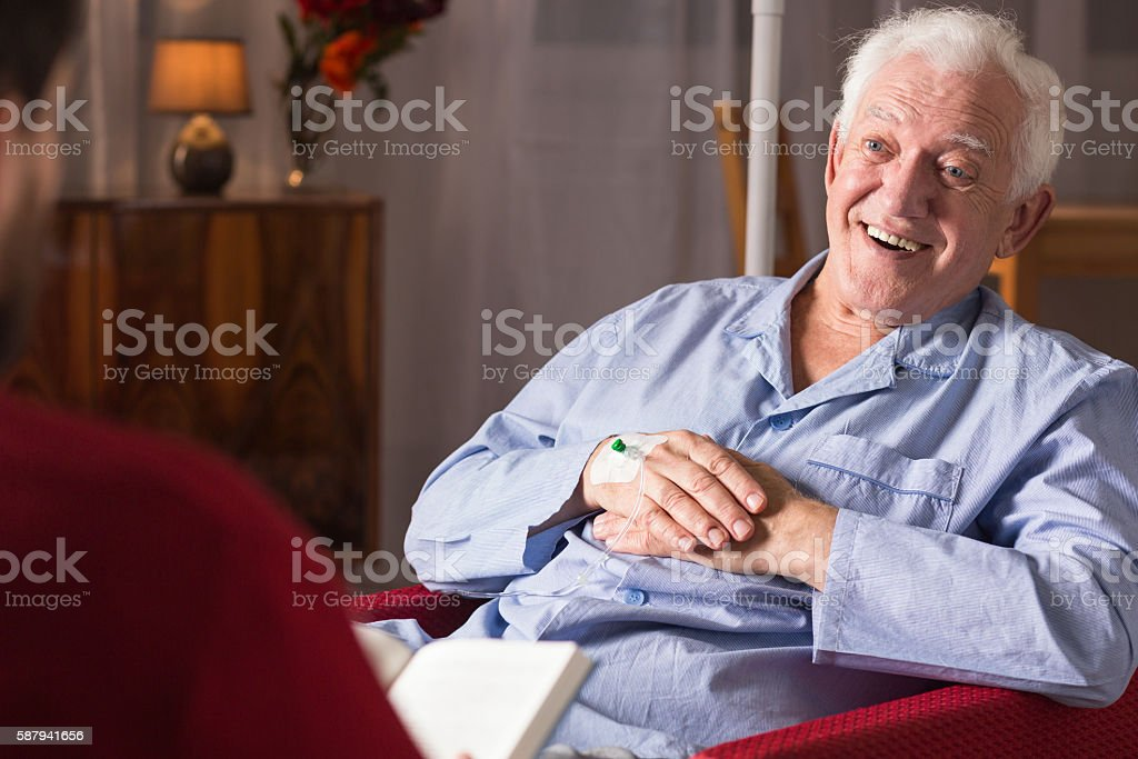 Patient with senile dementia stock photo