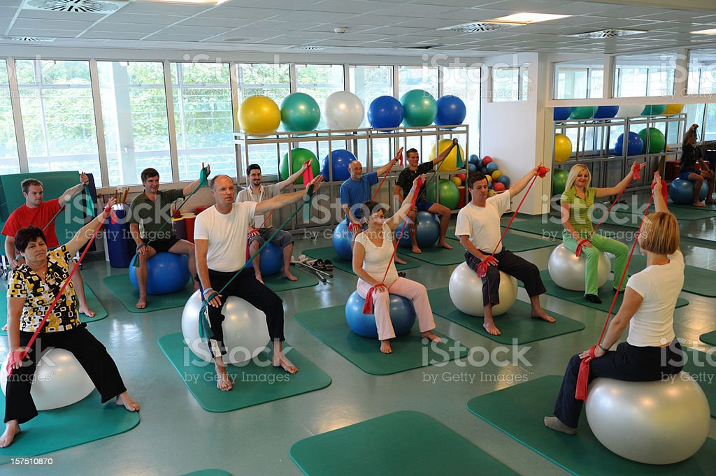 Patients at rehabilitation royalty-free stock photo