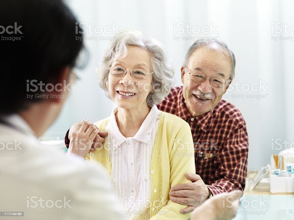 Patients with doctor royalty-free stock photo