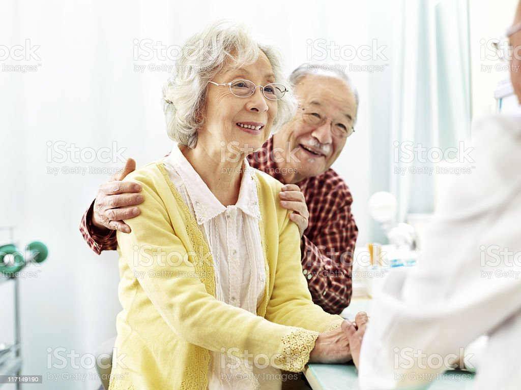 Patients with doctor stock photo